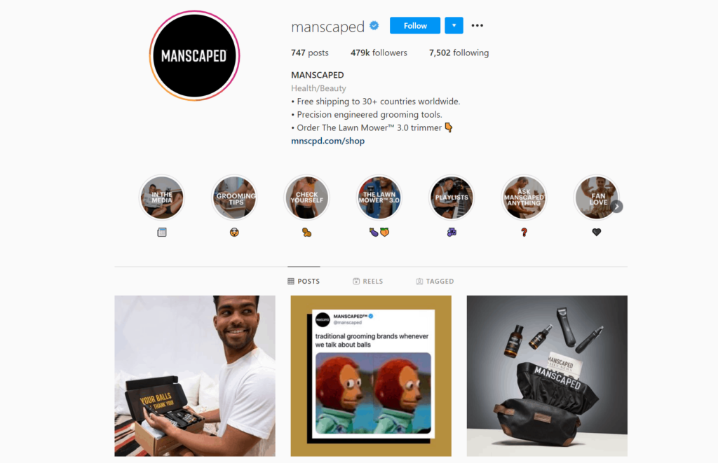 Manscaped Ecommerce Store Instagram Account Examples