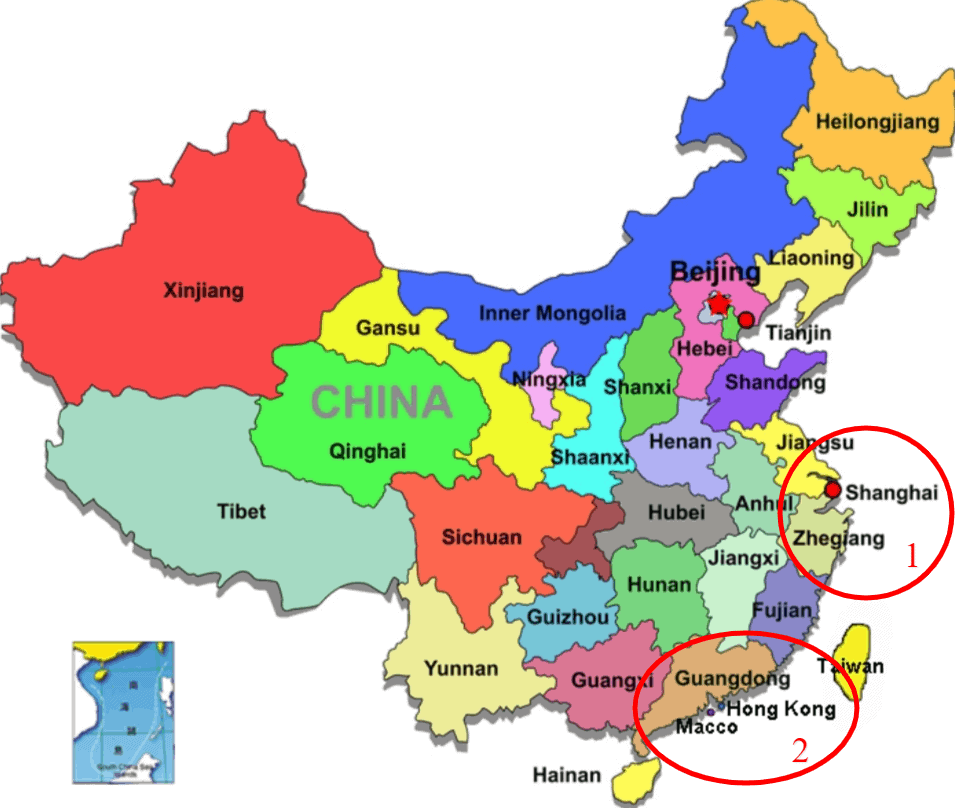 China map best locations for dropshipping agents