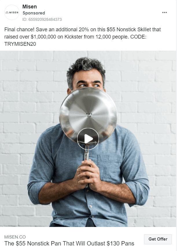 Facebook retargeting ad example