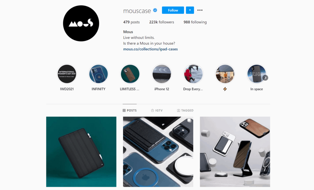 Mous Ecommerce Store Instagram Account Examples