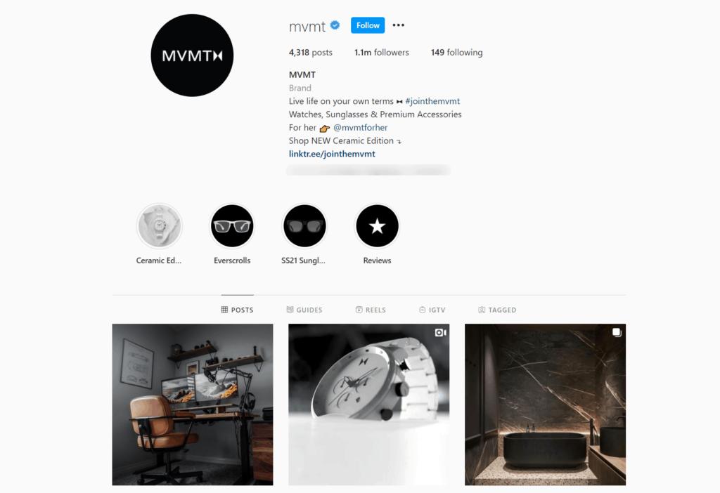 MVMT Ecommerce Store Instagram Account Examples