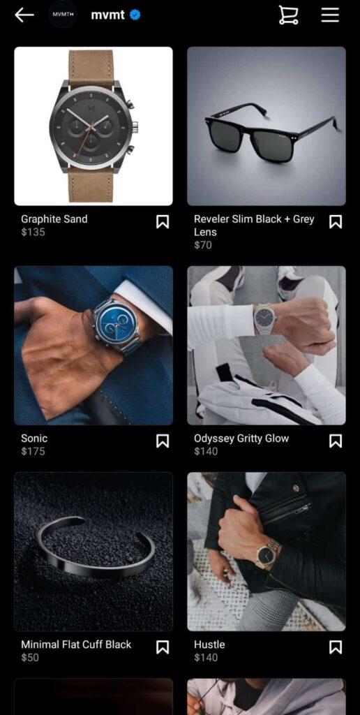 MVMT Instagram shop example