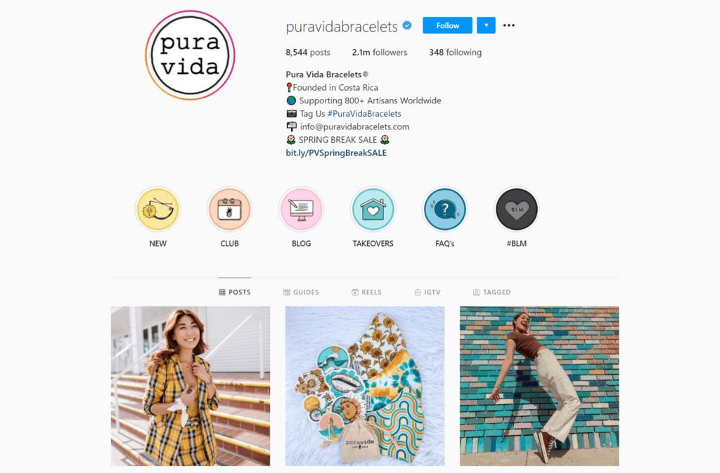 Pura Vida Bracelets Ecommerce Store Instagram Account Examples