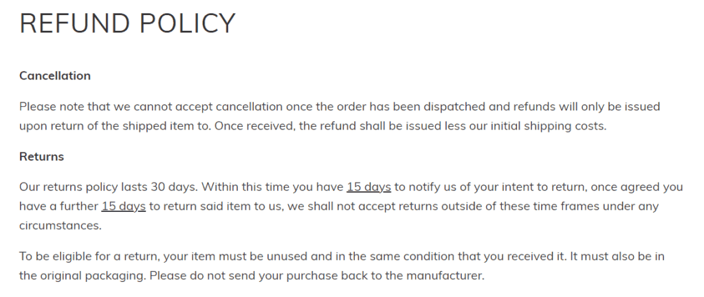 An example of a refund policy
