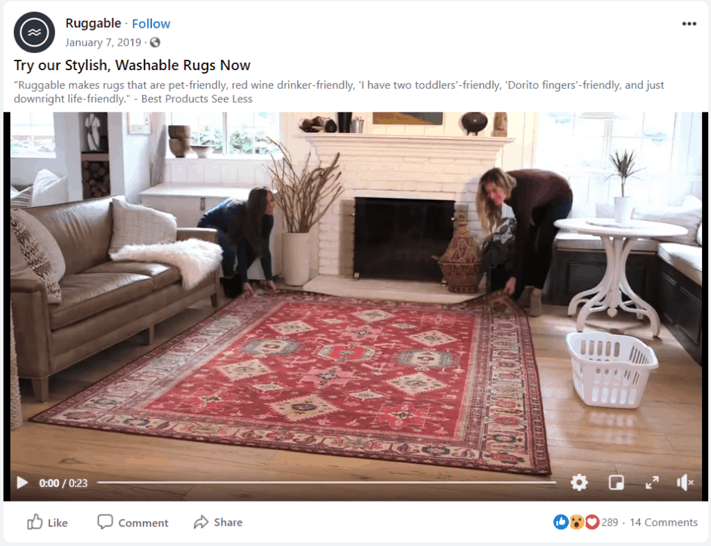 Ruggable Facebook ad examples for ecommerce