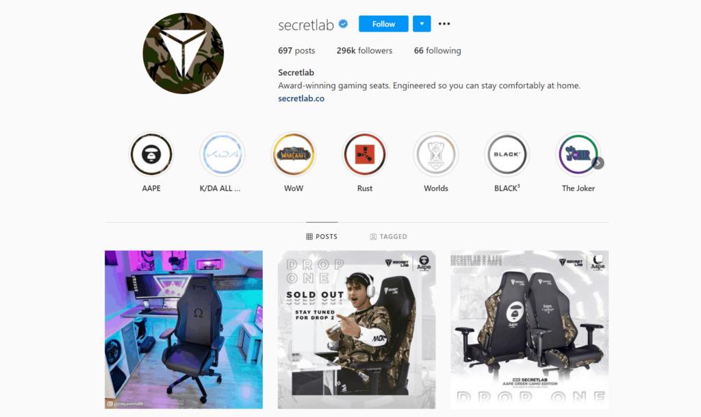 Secretlab Ecommerce Store Instagram Account Examples