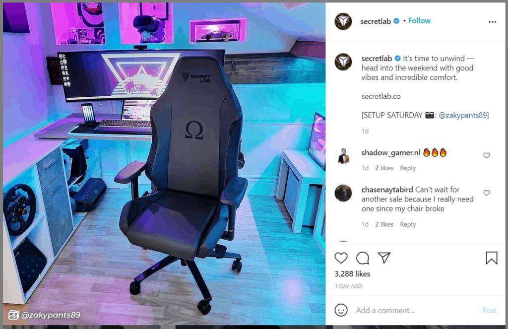 Secretlab user-generated content post Instagram