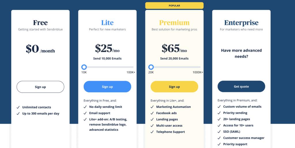 sendinblue pricing page