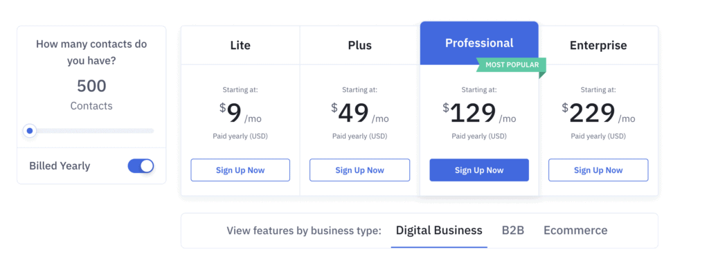 active campaign pricing page