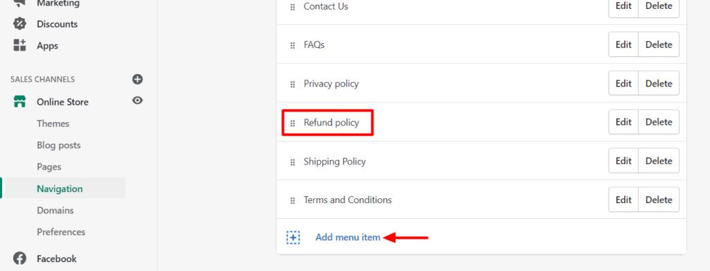 Add return policy to Shopify store menu