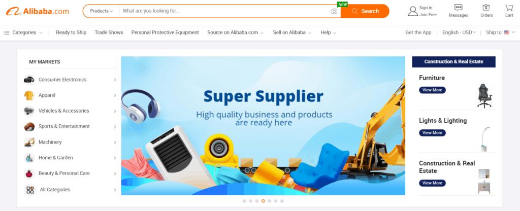 Homepage of Alibaba