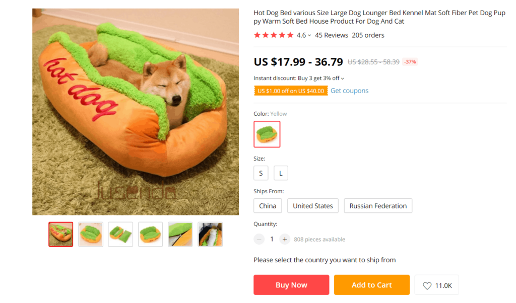 AliExpress dropshipping product example
