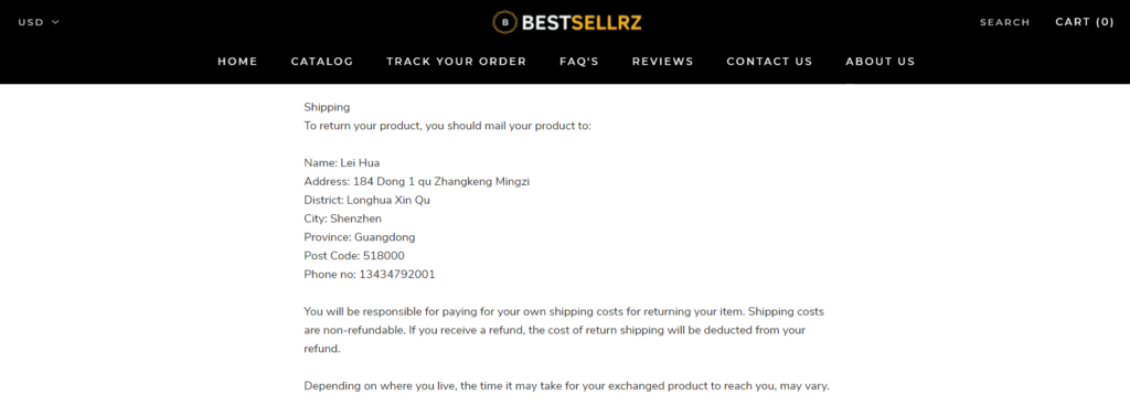 Dropshipping return policy example Bestsellrz