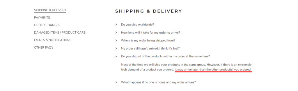 Delta Hiking Shipping & Delivery