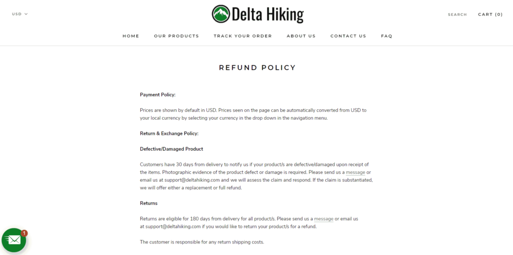 Dropshipping return policy Delta Hiking