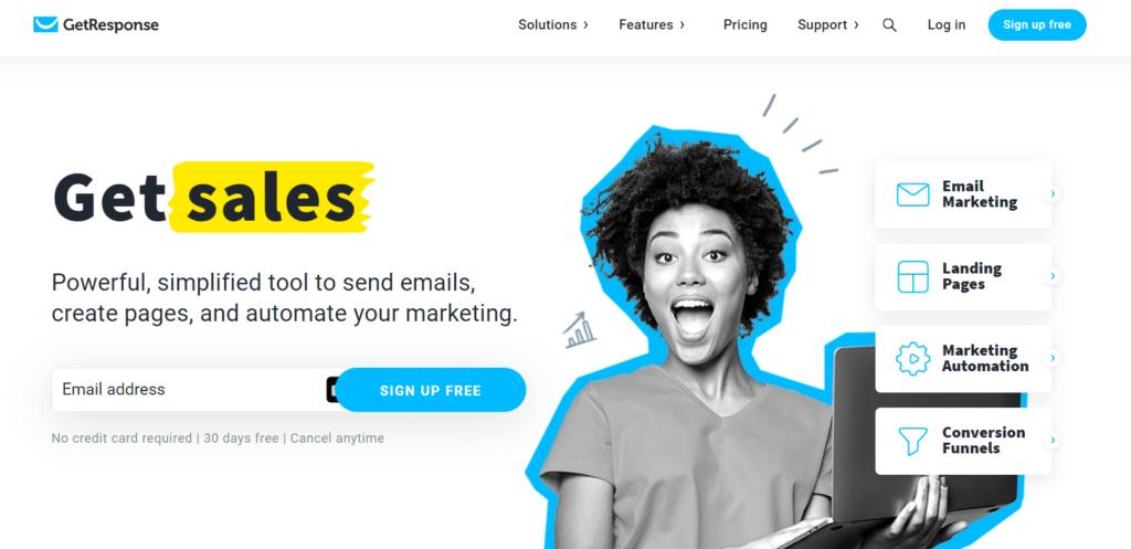Homepage of GetResponse