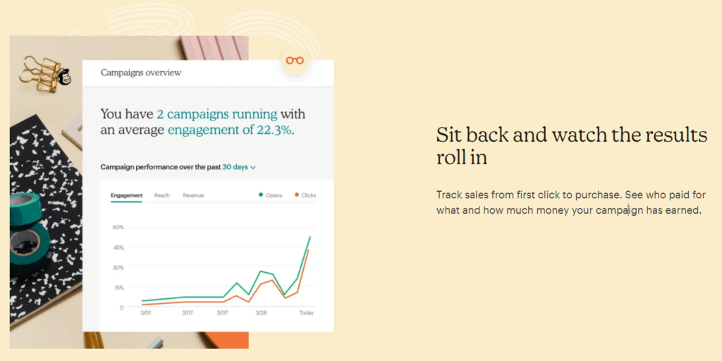 Part of Mailchimp's homepage