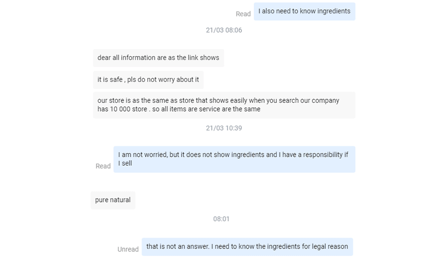 A conversation with my supplier on my €300 Dropship Store Experience