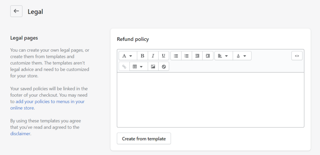 Shopify store legal pages return policy