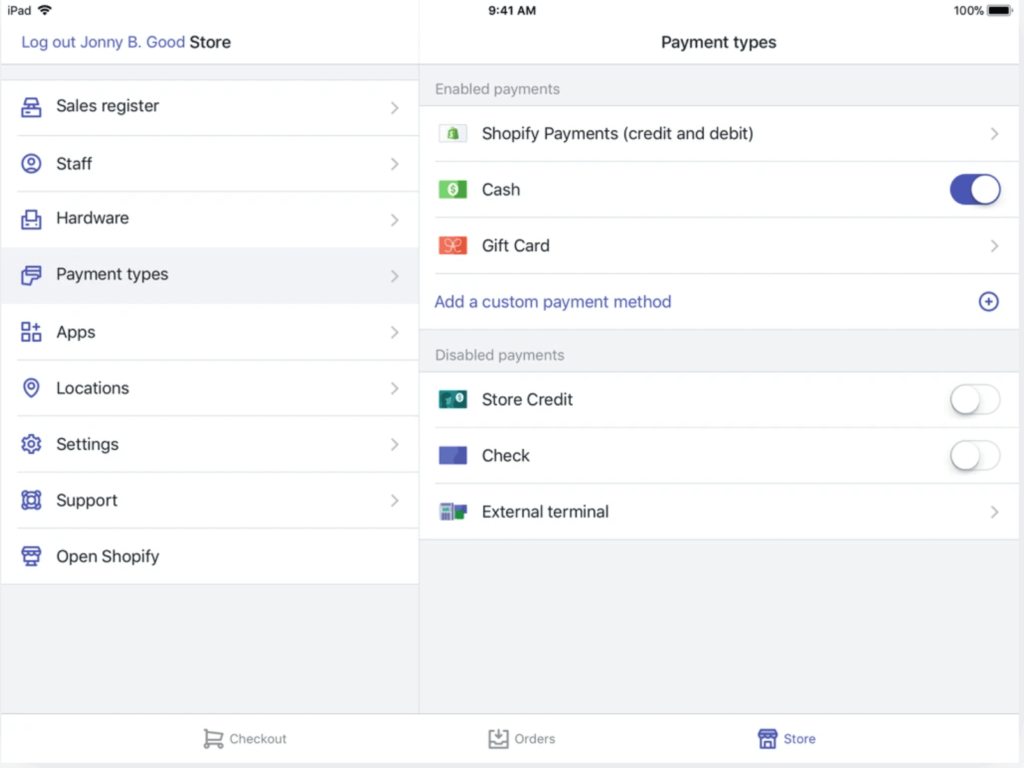 Shopify payment types in settings