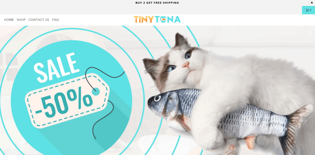 Tiny Tuna AliExpress dropshipping store example