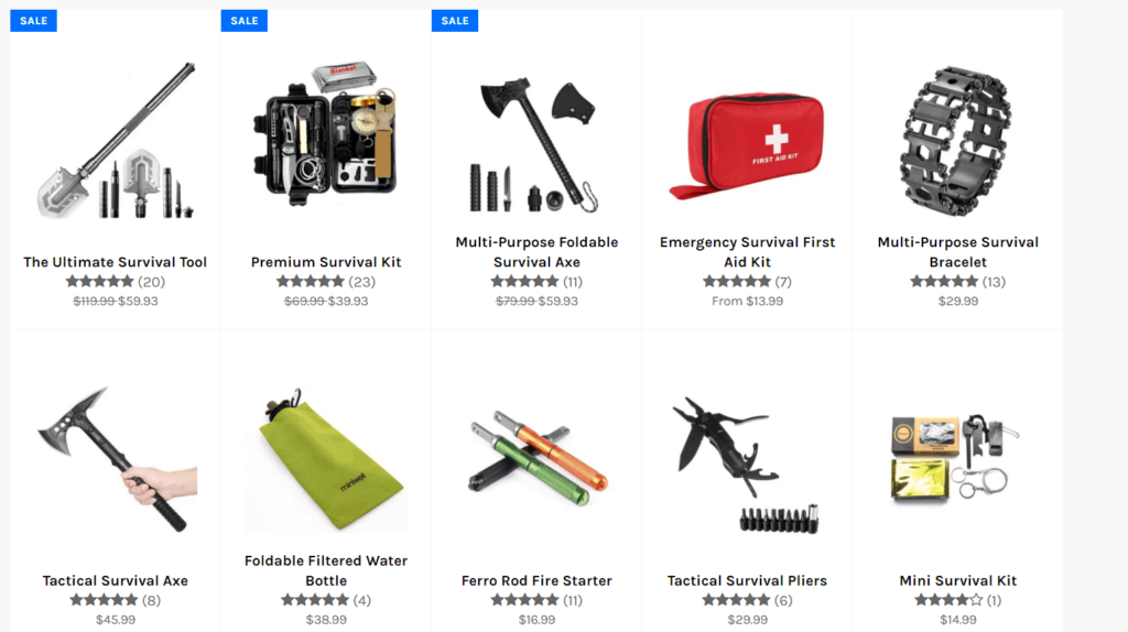 AliExpress dropshipping store example catalog images