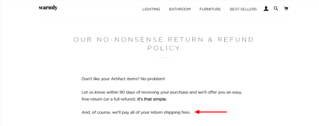 Dropshipping return policy example Warmly