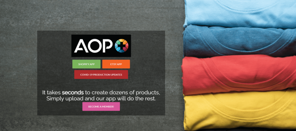 AOP+ private label print on demand supplier homepage