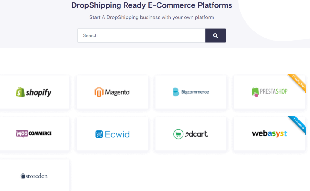 All the ecommerce platforms that ApiDrop can connect to
