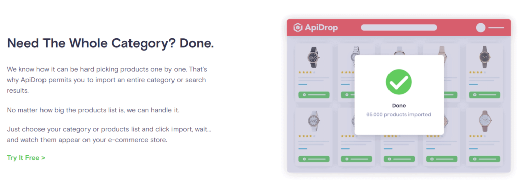 ApiDrop's import whole category feature