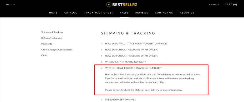 Note that products may arrive in different packages for dropshipping stores