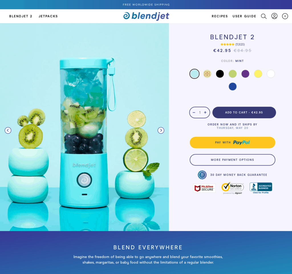 Private labeled dropshipping product example Blendjet