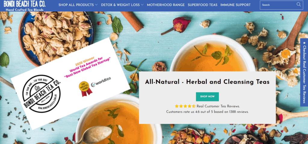 Bondi Beach Tea homepage