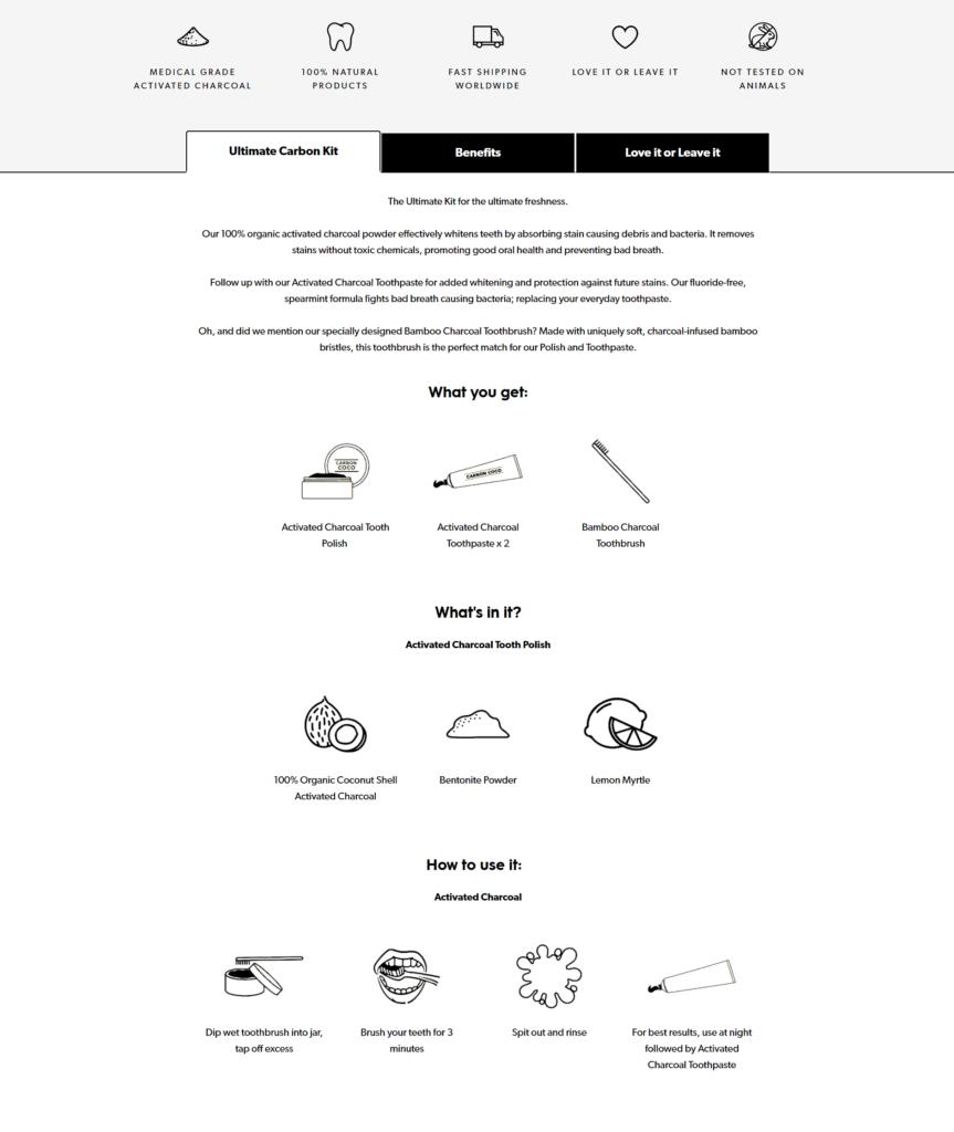 Carbon Coco product description example ecommerce