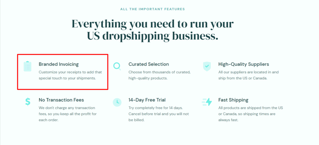 DropCommerce benefit branded invoicing