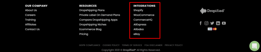Dropified integrations