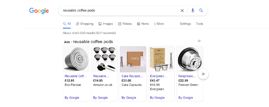 An example of Google Shopping ads