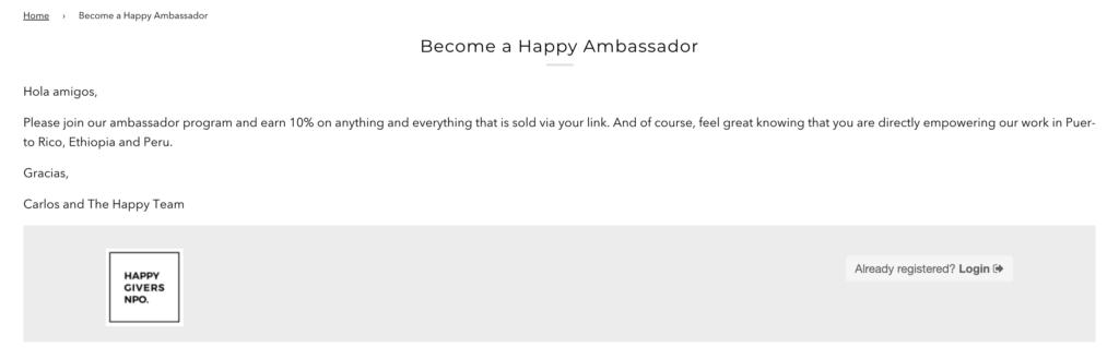 ambassador reward program page