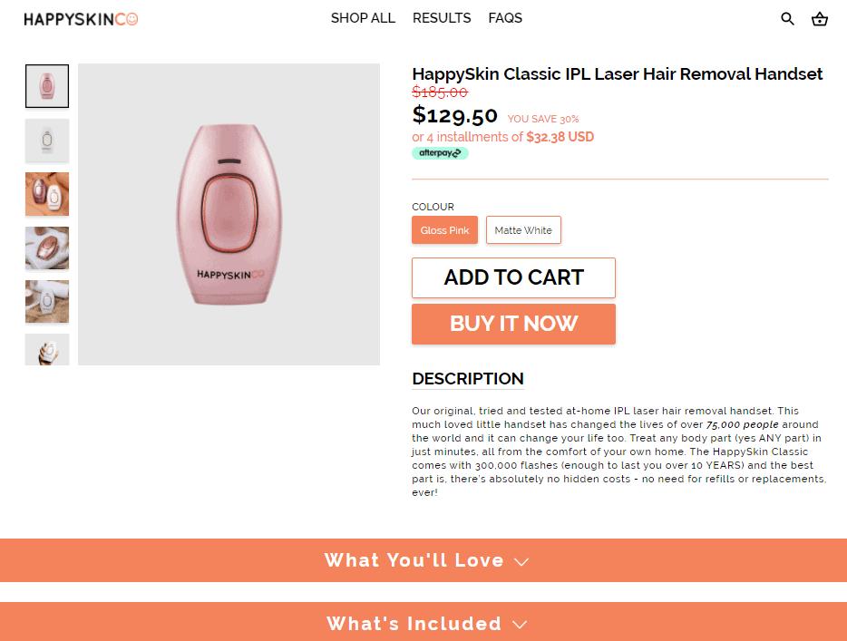 HappySkinCo product description example
