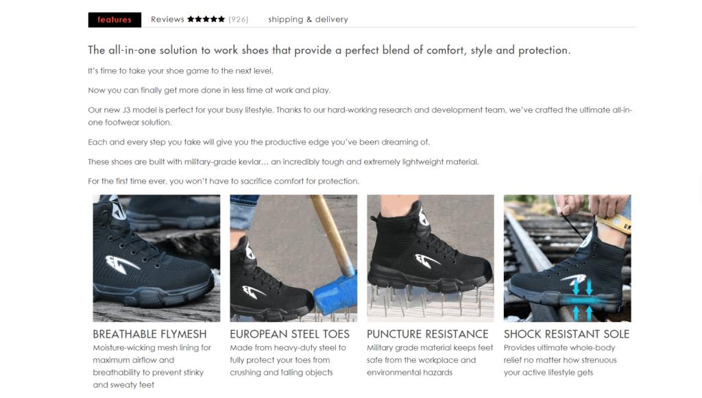 Indestructible Shoes product description example