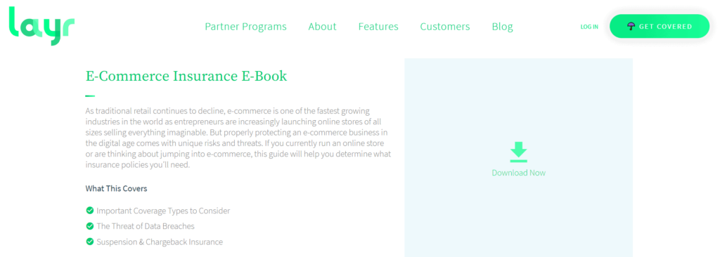 Layr free insurance eBook for ecommerce