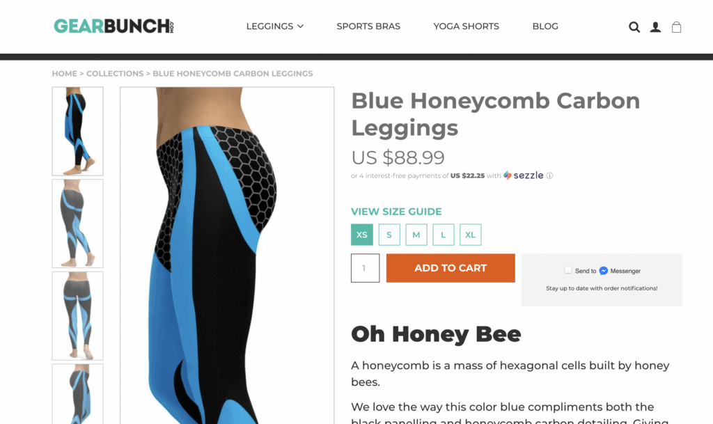 leggings product page