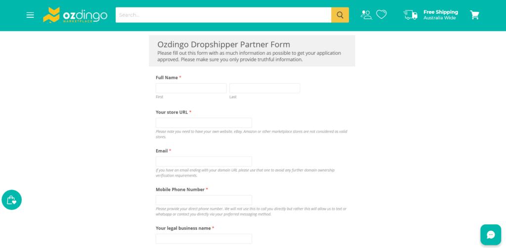 Screenshot of their dropshipping program