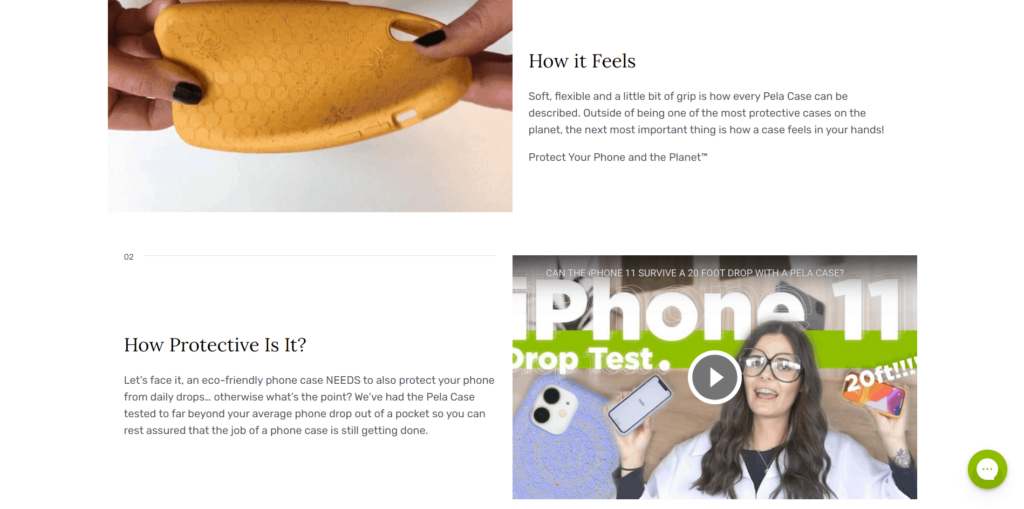 Use of gifs and videos in ecommerce product description example