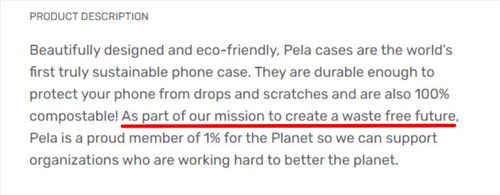 Pela Case product description with brand's mission