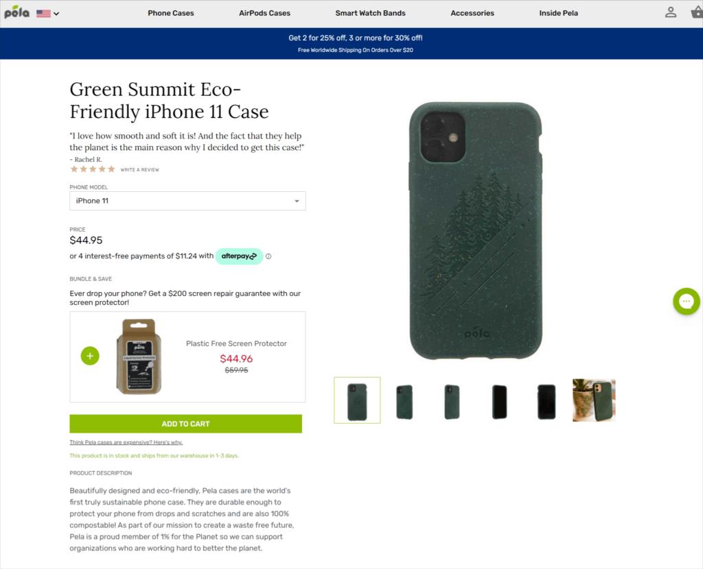 Pela Case product description example ecommerce