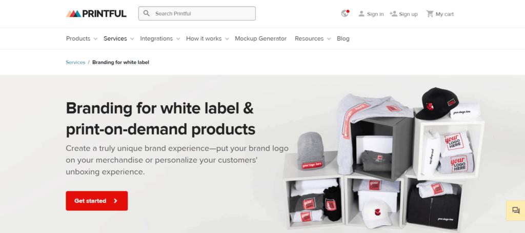 Customized packaging using Printful branding service