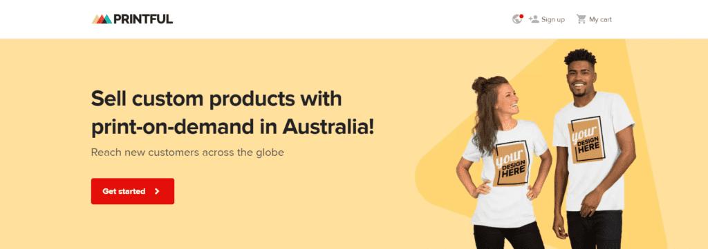 Printful homepage Australian print on demand dropshipping supplier