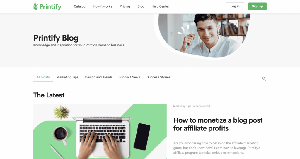 printify blog page