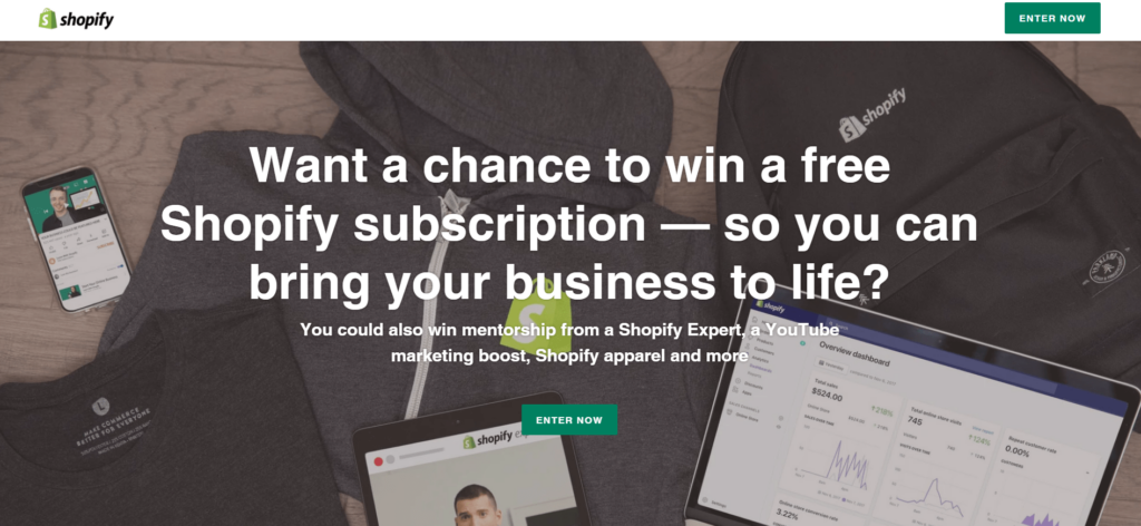 Shopify contest to win a free subscription, expert mentorship, YouTube marketing, and Shopify apparel